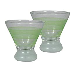 Golden Hill Studio Retro Stripe Cosmopolitan Glass (Set of 2), Green
