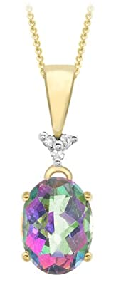 Carissima 9ct Yellow Gold 0.018ct Diamond and Mystic Topaz Oval Pendant on Curb Chain Necklace 46cm/18""
