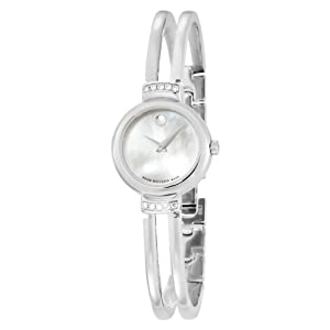 Movado Women's 606353 Harmony Stainless-Steel with Diamonds Mother of pearl Round Dial Watch from Movado