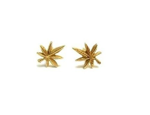 14k Real Yellow Gold Weed Pot Leaf Post Stud Earrings Small