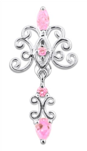 Pretty Lt Pink Unique Victorian Swirl Chandelier Dangle 925 Sterling Silver Reverse Top Mount Belly Button Navel Piercing Bar Body Jewelry Ring 14G