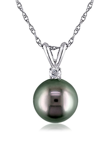 Michiko 14k White Gold Tahitian Cultured Pearl & 0.05-Ct. Diamond Necklace