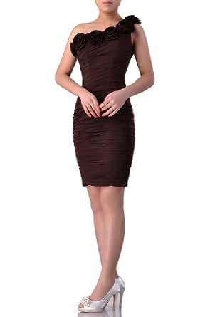 Natrual Chiffon One Shoulder Short Cocktail Dress, Color Dusty Rose ,16W