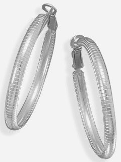 Solid .925 Sterling Silver 4mm x 40mm Omega Style Hoop Earrings, Post Clip Back