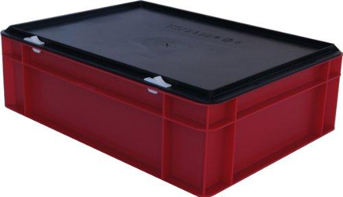 Kunststoff-StapelboxLagerbehlter-rot-mit-schwarzem-Verschludeckel-400x300x156-mm-LxBxH-stabile-Industrie-Ausfhrung