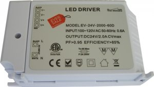Pack Of One (1), 24V 48W Dimmable Cv Dc Led Driver Etl (Ul) Approved