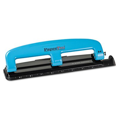 12-Sheet Capacity ProPunch Compact Three-Hole Punch, Rubber Base, Blue/Black, Sold as 1 Each (3 Hole Puncture compare prices)