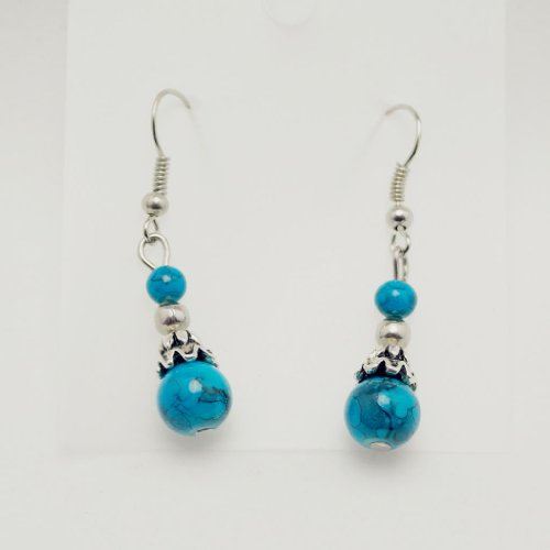 Jewellery Chic Boutique Tibetan Silver Turquoise Stone Beads Drop Earrings, Length of Earrings: 4cm(include hook), Turquoise Stone Beads Diameter: 0.8cm, 0.4cm
