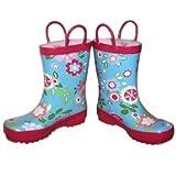 Pluie Pluie Girls Blue Floral Print Rain Boots