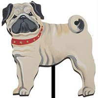 Hand Painted Dog Breed Garden Stake Pug