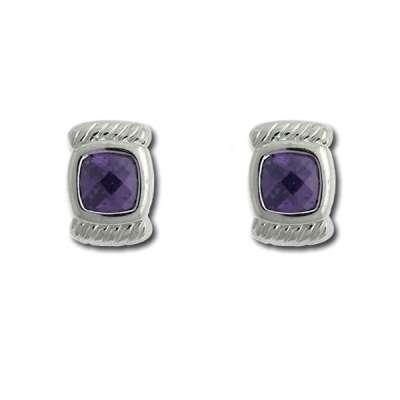 Fashionable Button Earrings 925 Sterling Silver with Small Square Amethyst CZ Design(WoW !With Purchase Over $50 Receive A Marcrame Bracelet Free)