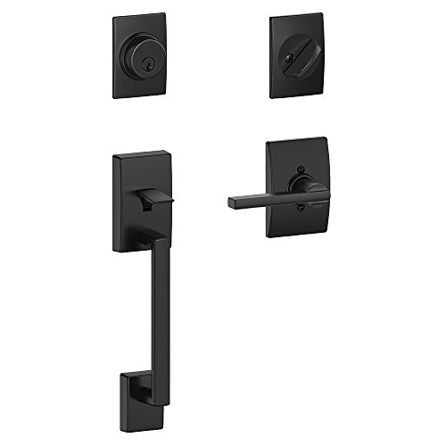 Schlage F60 CEN 622 LAT CEN Century Handleset with Latitude Lever and Century Rose, Matte Black