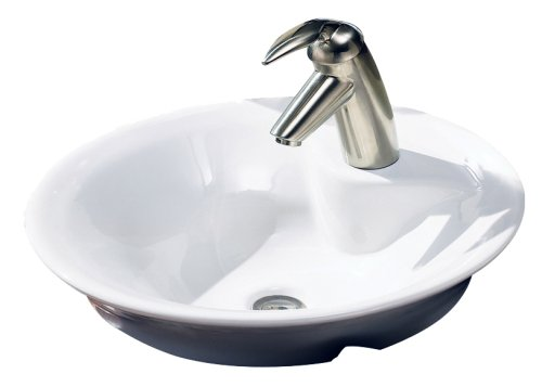 New American Standard Morning Front Overflow Above Counter Bathroom Sink White