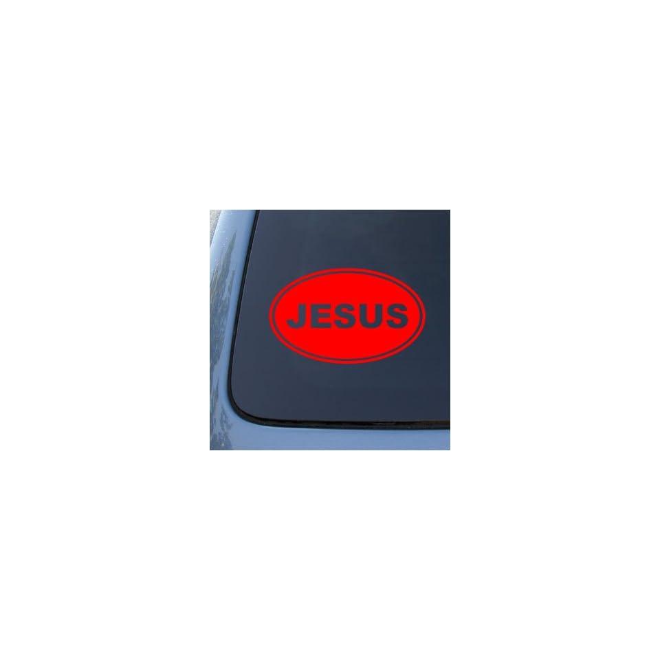 JESUS EURO OVAL   God Christian   Vinyl Car Decal Sticker #1720  Vinyl Color Red