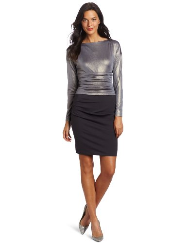 Suzi Chin Women's Metallic Twofer Dress