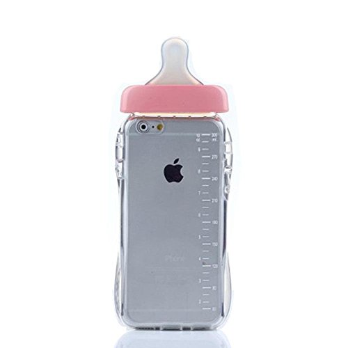 Gravydeals® Funny Design Cute 3D Pink Transparent Cartoon Baby Nipple Milk Soft Silicone Bottle Cover Case TPU Gel Back Skin With Lanyard for iPhone 5 5S SE