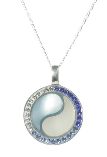 Elegant 925 Sterling Silver Women Necklace with Cubic Zirconia/CZ, Mother of Pearl - 18.1 inch