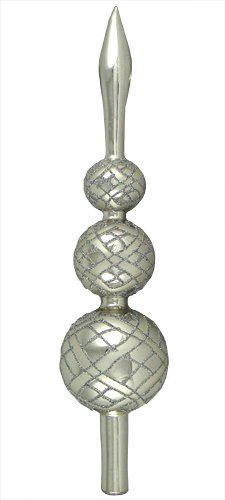 13″ Shiny Silver Detailed Finial Vintage Glass Christmas Tree Topper