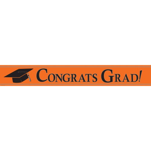 Creative Converting Paper Art Foil Banner, 24 by 5-Inch, Congrats Grad, Orange