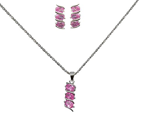 Saloni Fashion Jewellery Latest Bollywood Style Latest Silver Light Pink With American Diamond Diamond Pendant Set  available at amazon for Rs.180