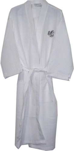 Monogrammed Bathrobes, For Bridesmaids Gifts, Cotton Waffle, White Long front-707113