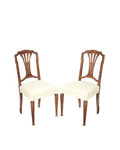 Pair of French Hall Chairs, Brown/Cream