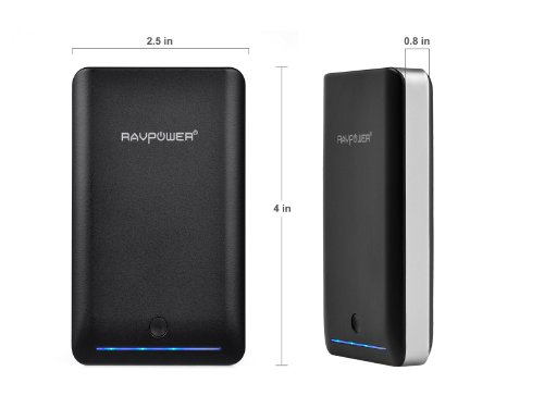 RAVPower 8400mAh Deluxe Portable Charger(External Battery Pack, Power Bank, 3A Output, Dual USB, Apple 30pin and Lightning Cable Not Included) - Black