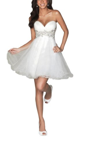 GEORGE BRIDE Strapless White Cocktail Dress Size 10 White