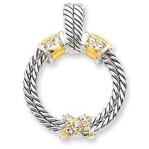 PriceRock Sterling Silver Vermeil Crystal Pendant