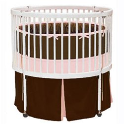 Solid Color Round Crib Bedding - color: Brown/Pink