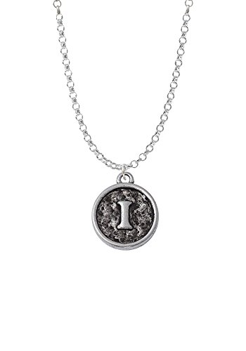 Antiqued Round Seal - Initial - I - Necklace