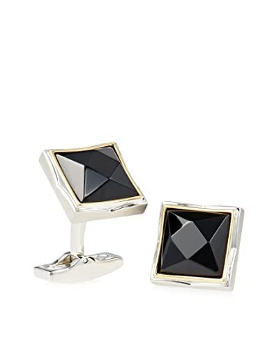 Hickey Freeman HF11 Stainless Steel Cufflink with Faceted Onyx