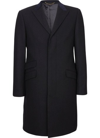 Austin Reed CUT Navy Velvet Collar Wool Coat REGULAR MENS 38