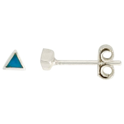 Sterling Silver Tiny Blue Resin inlay Stud Earrings Nose Studs,