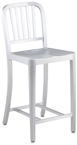 Euro Style Cafe-C Counter Chair in Matte Aluminum