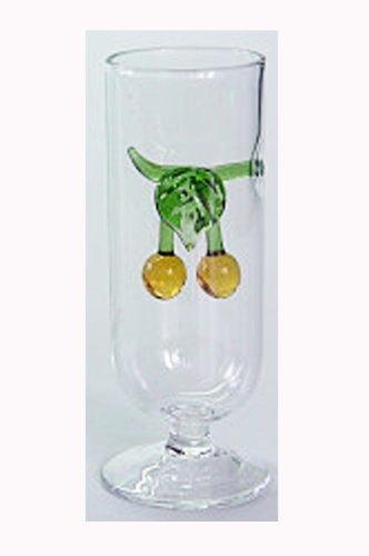 Schnapsglas Glasstamper Höhe ca. 10 cm Buntglas mit farbigen Mirabellen Oberstdorfer Glashütte