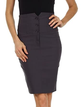 LS2041 - Knee Length High Waist Stretch Pencil Skirt ( Various Colors & Sizes ) - Charcoal/X-Large