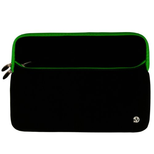 Durable Neoprene Protective Sleeve For Apple Macbook Pro Mc700Ll/A 133-Inch Laptop , Black With Green Trim front-1005086