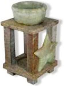 Incense Oils Burner  Soapstone  Decorative Star  Small Pillar