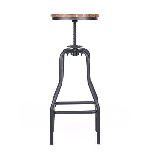 IKAYAA Adjustable Height Swivel Bar Stool Chair Kitchen Dining Breakfast Chair Natural Pinewood Industrial Style 3