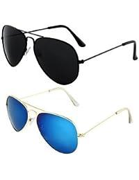 Sheomy Mirrored Sunglasses Golden Green Classic Aviator, Golden Mercury Blue Aviator Combo Pack Sunglasses (For...
