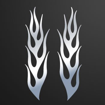 Pair of Flames... Chrome Mirror (10 X 2.6 inch) KR5ZK