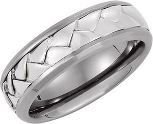 7 mm Titanium and Woven Sterling Silver Comfort Fit Band Size 9