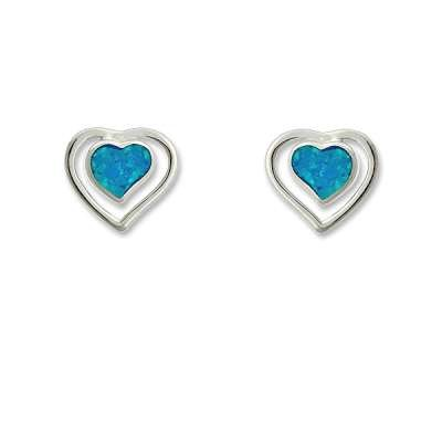 New Studd Earrings 925 Sterling Silver Heart Love Shaped Style w/ Blue Inlay Opal Inner (WoW !With Purchase Over $50 Receive A Marcrame Bracelet Free)