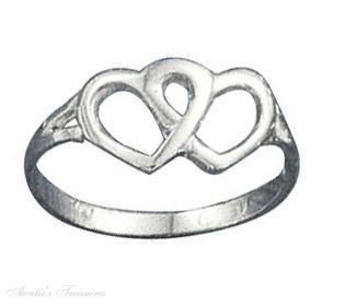 Sterling Silver Double Open Heart Ring Size 7