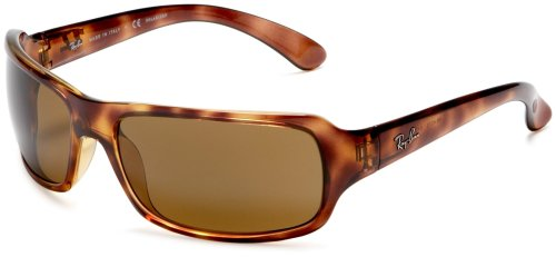 Ray-Ban 4075P Rectangular Wrap Sunglasses,Tortoise Frame/Brown Lens,61 mm