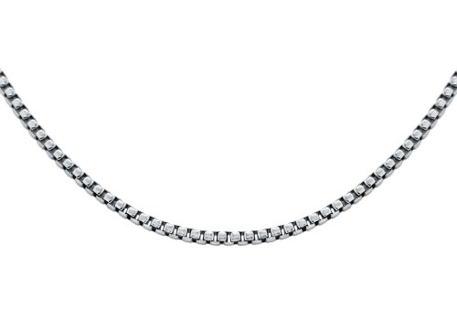 18ct White Gold Unisex Square Chain of 46cm