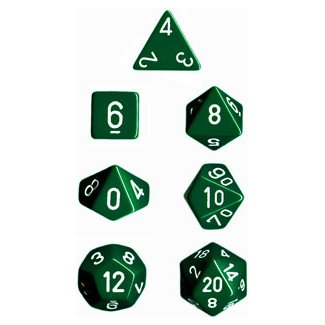 Polyhedral 7-Die Opaque Dice Set - Green with White