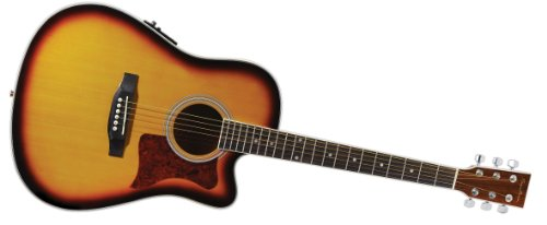 Spectrum Ail 261Ae Thin Body Travel Acoustic Electric Guitar With 3 Band Eq And Tuner, Tobacco Sunburst