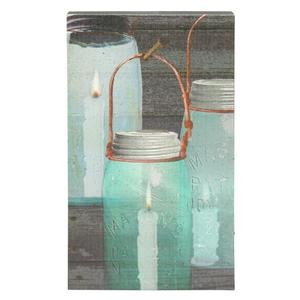 """Ohio Wholesale 36985 - 16-1/2"""" X 10"""" X 1-1/2"""" - """"Canning Jar Candles"""" Battery Operated Led Lighted Canvas (Batteries Not Included)"""